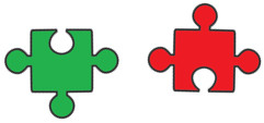 Two small puzzle pieces - showing the connection between Activities and Opinions