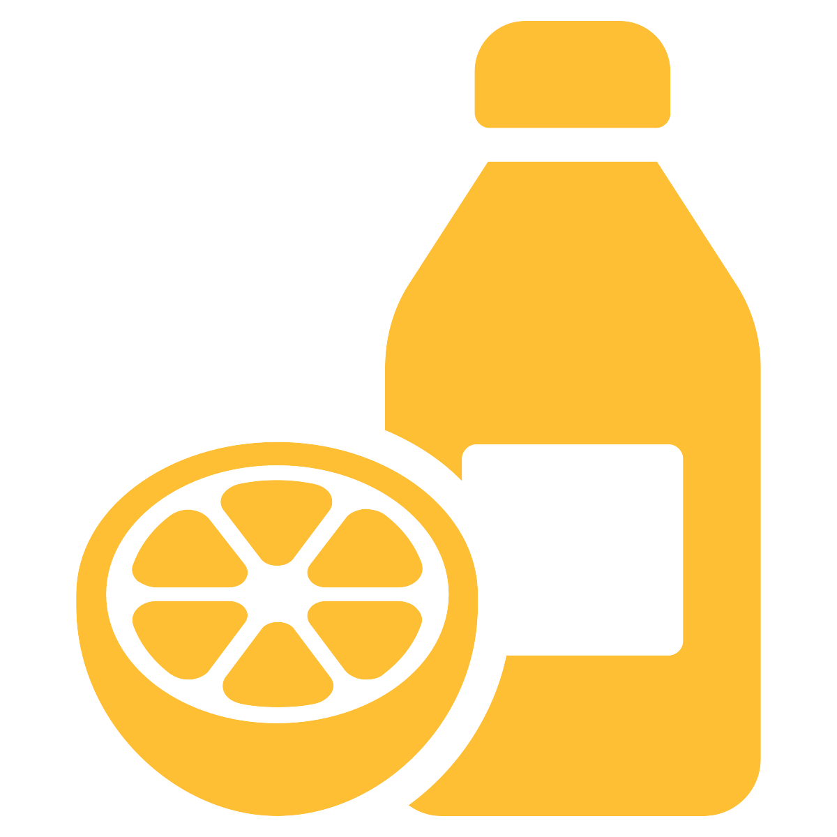 basic drawing of an orange-coloured bottle next to a orange that has been cut open