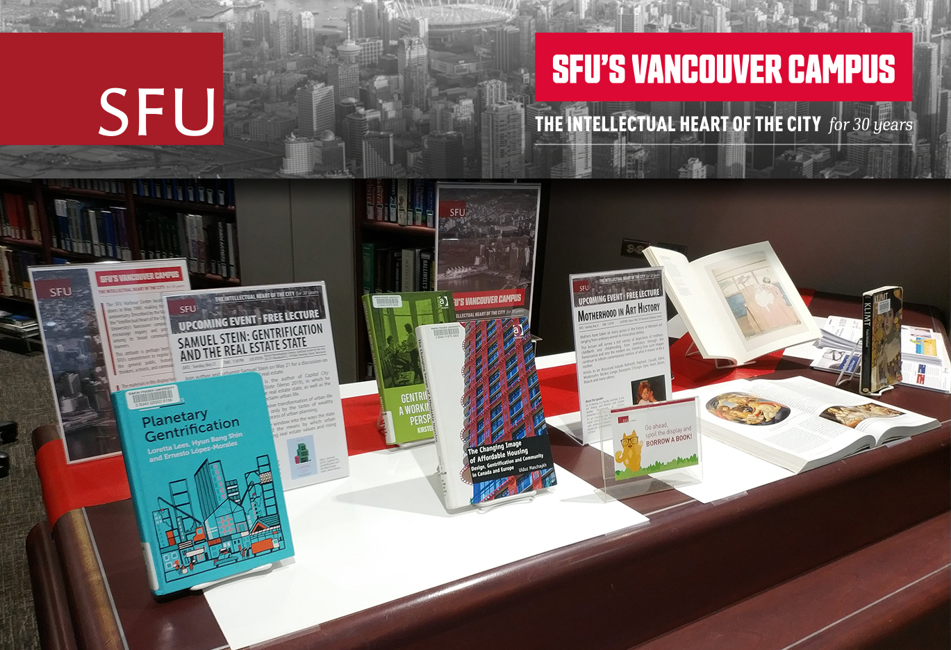 Belzberg Library display featuring books relating to upcoming campus events.