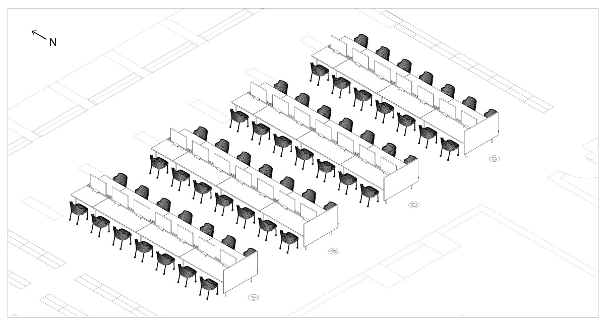 drawing of new study area furniture
