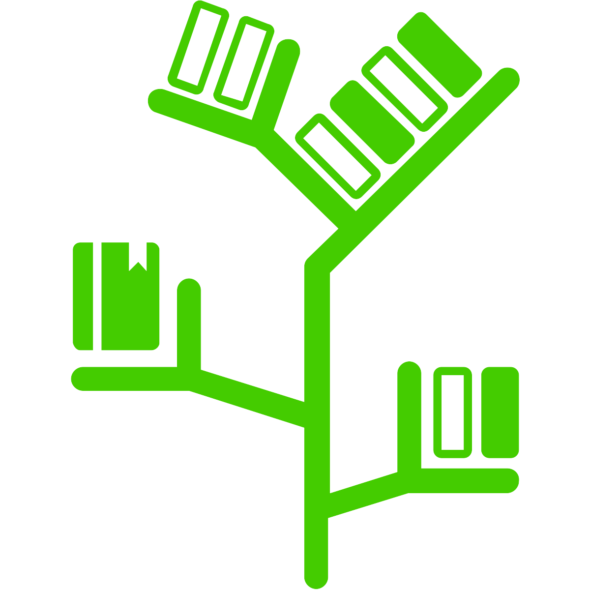 line drawing of a green book shelf shaped somewhat like a tree