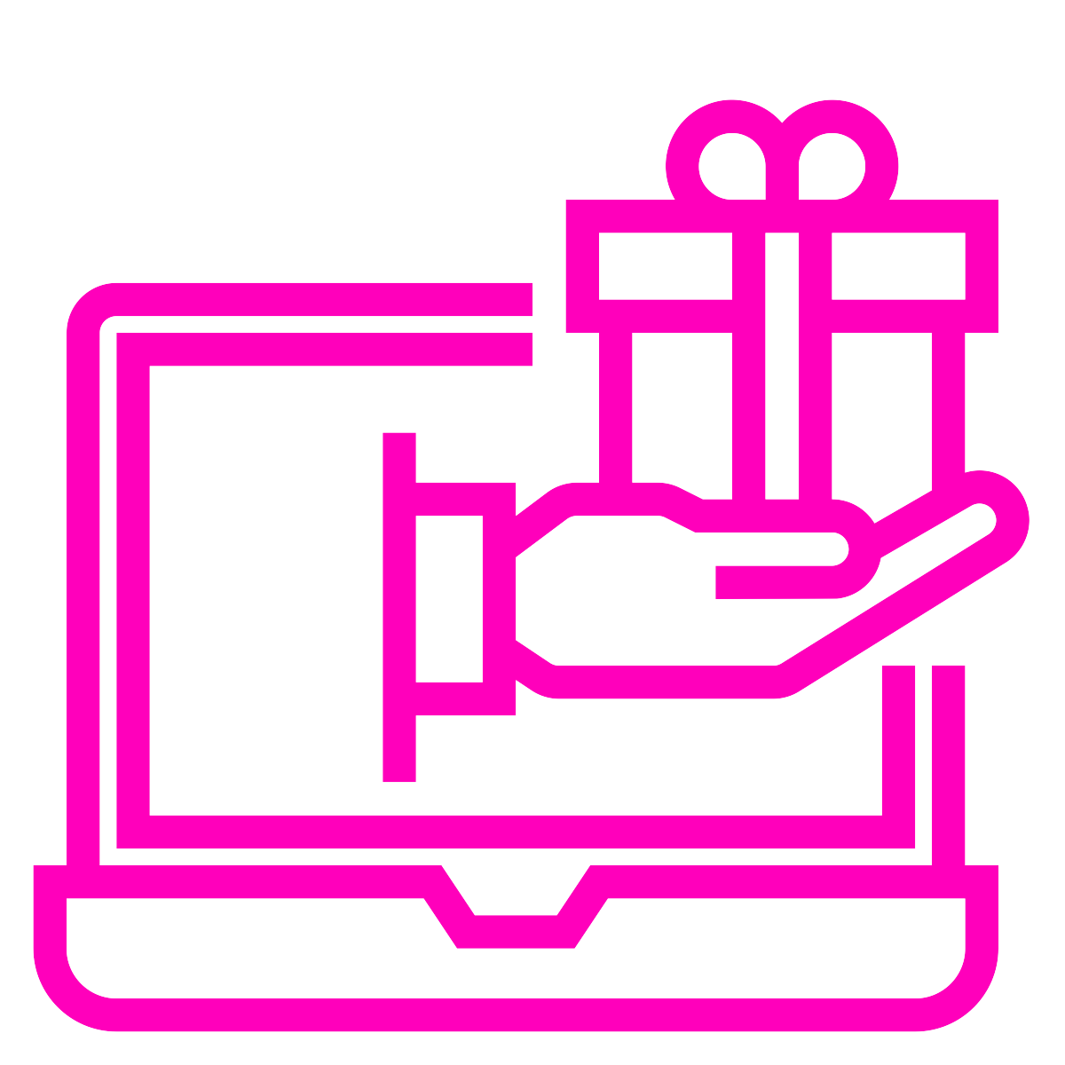 line drawing of a hand holding a wrapped gift coming out of a laptop screen - colour is dark pink