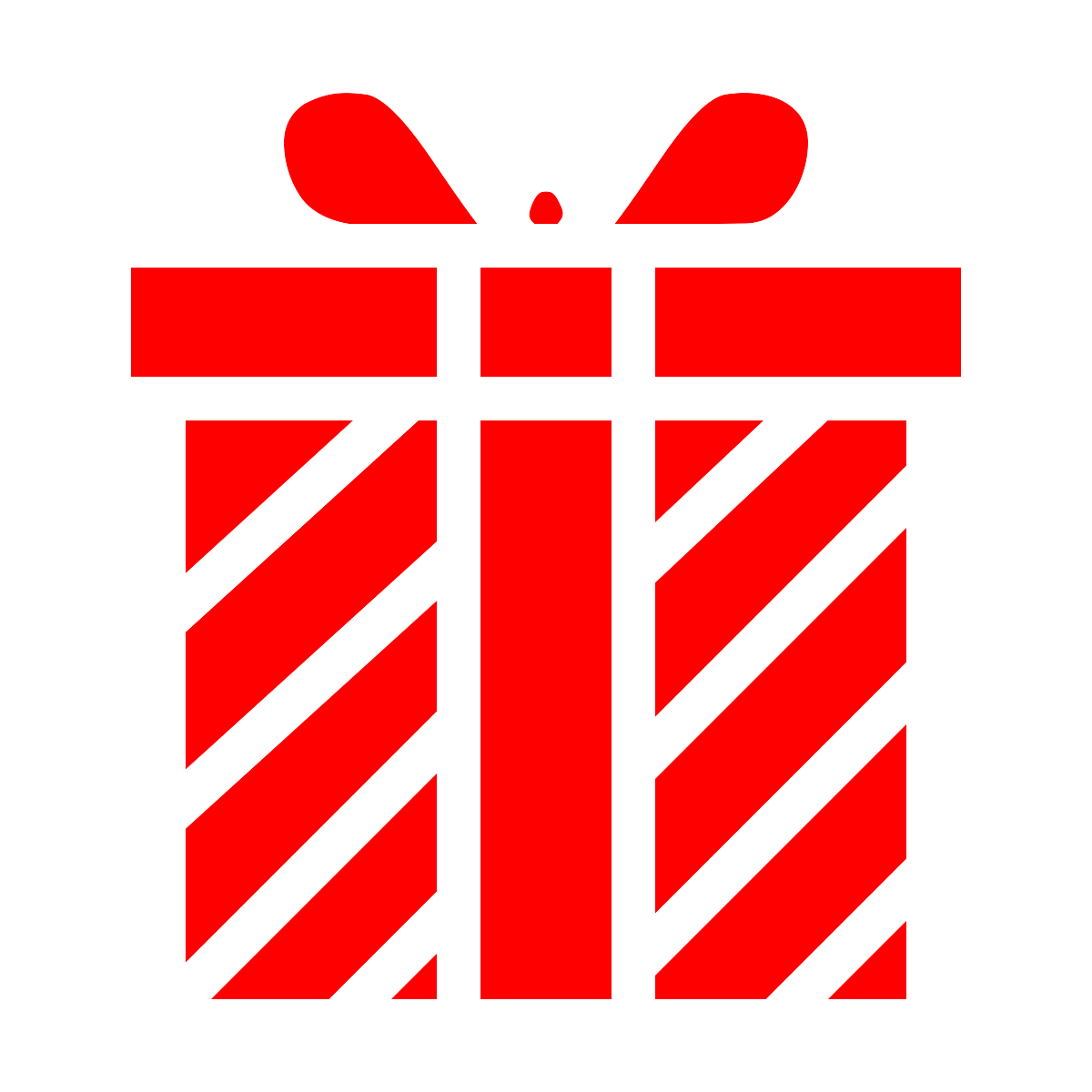 line drawing of a wrapped gift - red color