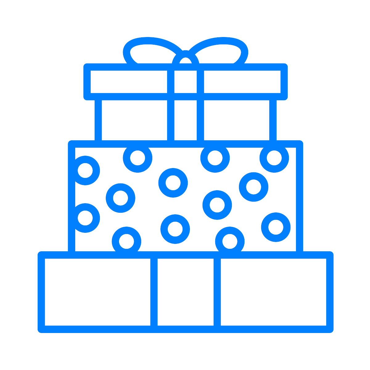 line drawing of a stack of wrapped gifts - colour is blue