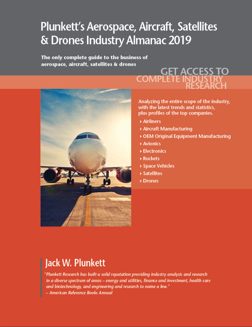 Cover of Plunkett's Aerospace, Aircraft, Satellites & Drones volume. Links to fulltext.