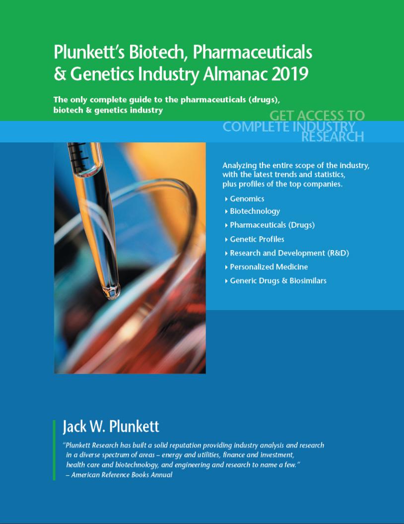 Cover of Plunkett's Biotech, Pharmaceuticals & Genetics volume. Links to fulltext.