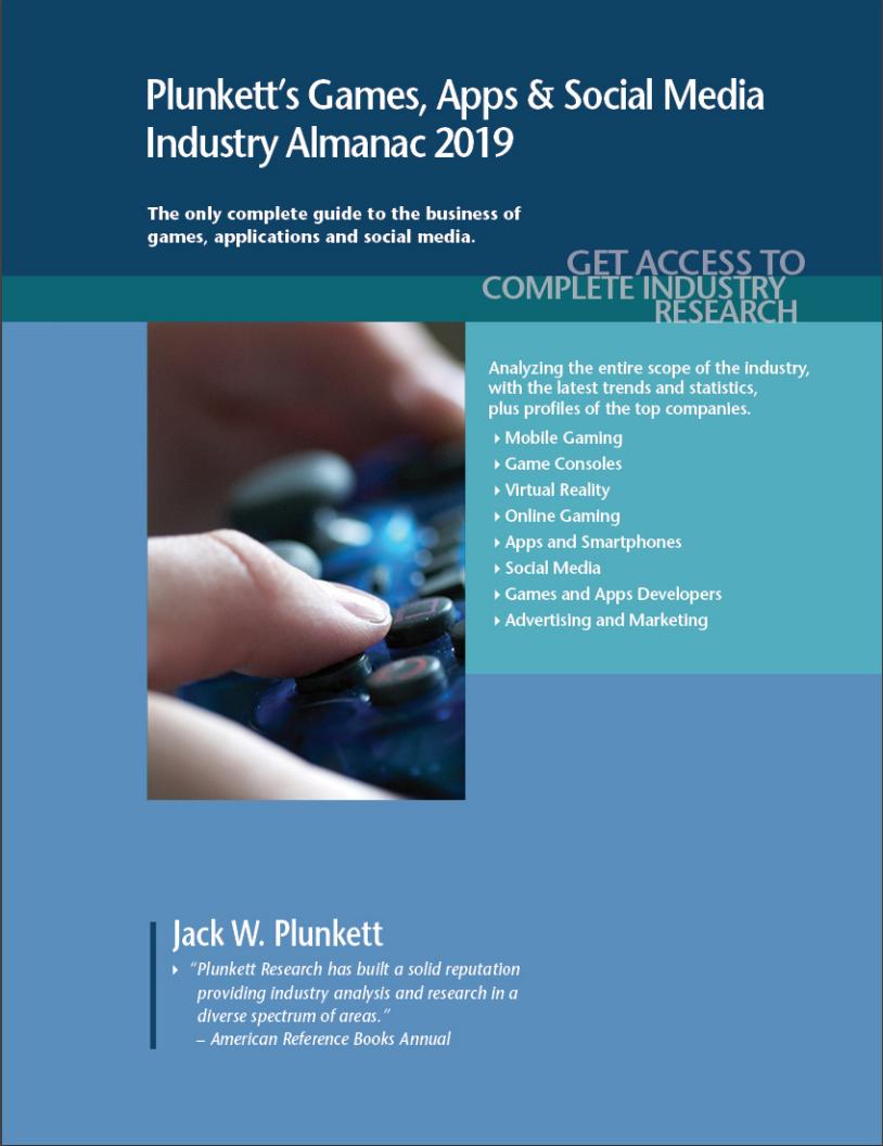 Cover of Plunkett's Games, Apps & Social Media volume. Links through to fulltext copy.