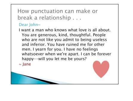 """""""Dear John"""" love letter - letter from Jane to John describing how much she loves him"""