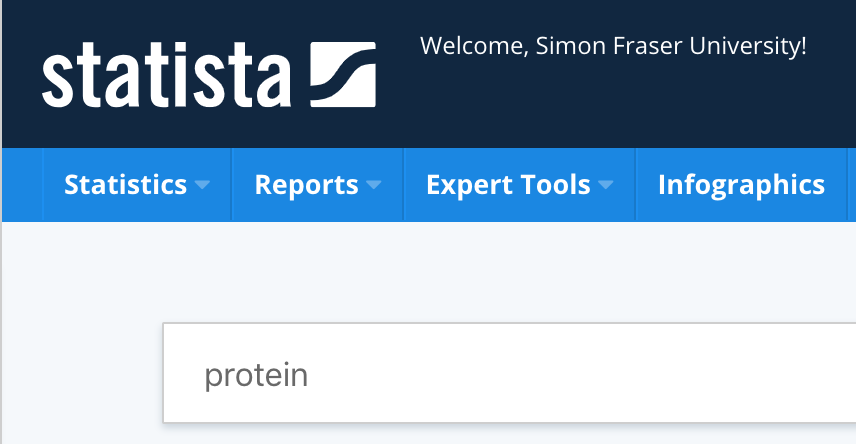 Image of search in Statista for protein. Image links to search results.