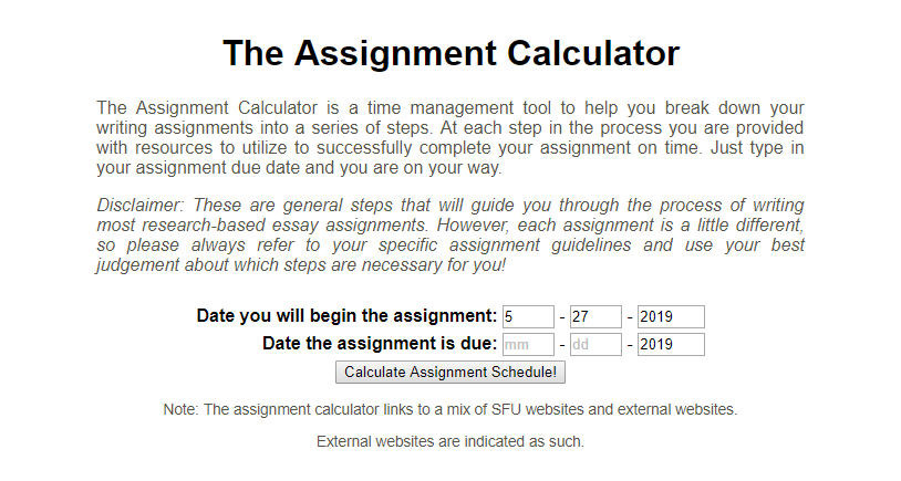 Screen capture of assignment calculator - text provided below in screen reader friendly format