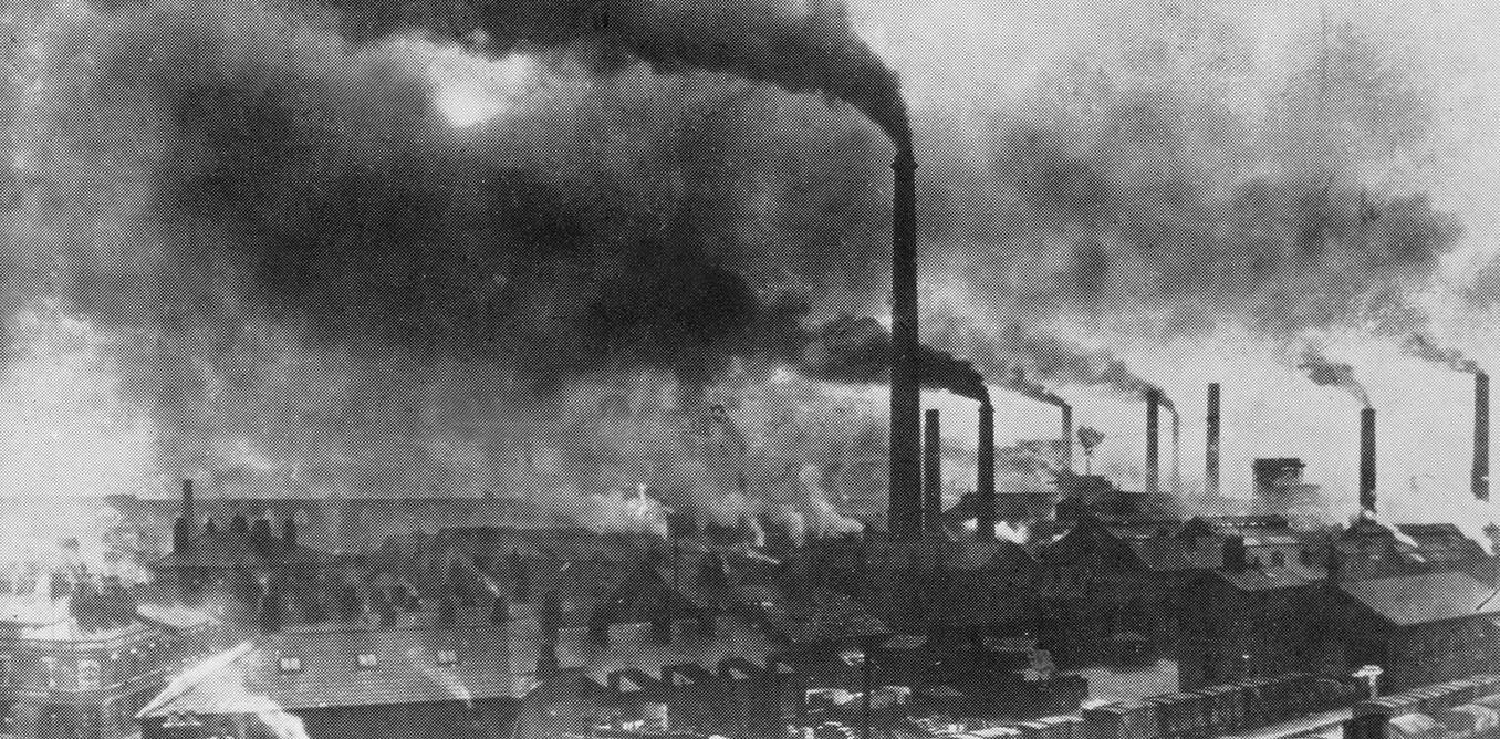 Photo from late 19th Century of polluting smokestacks in Widnes, England.