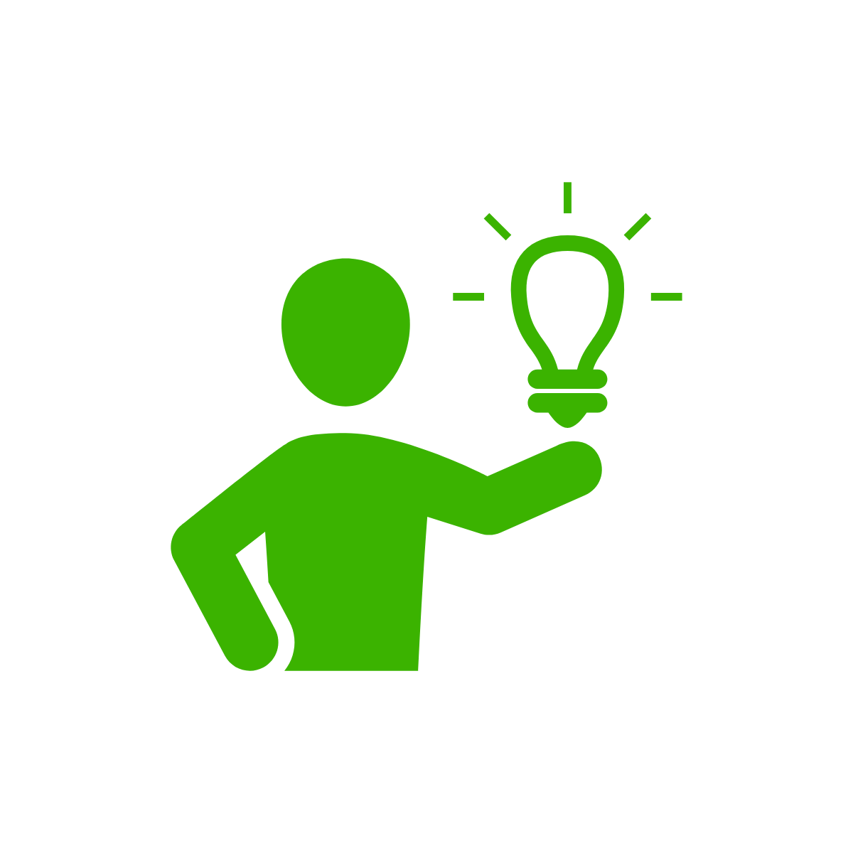 line drawing of a person holding a light bulb