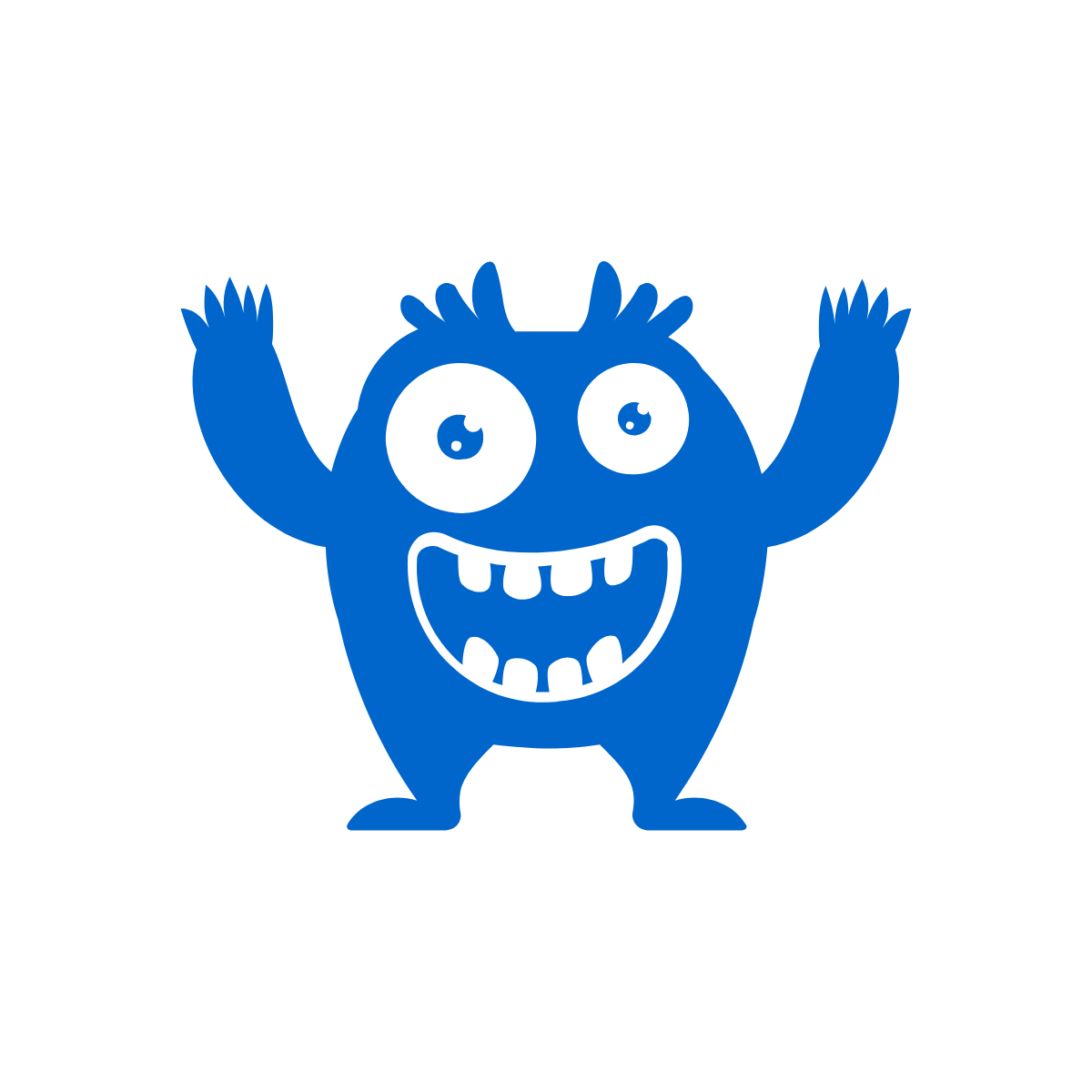image of a silly monster with a big grin and its arms in the air