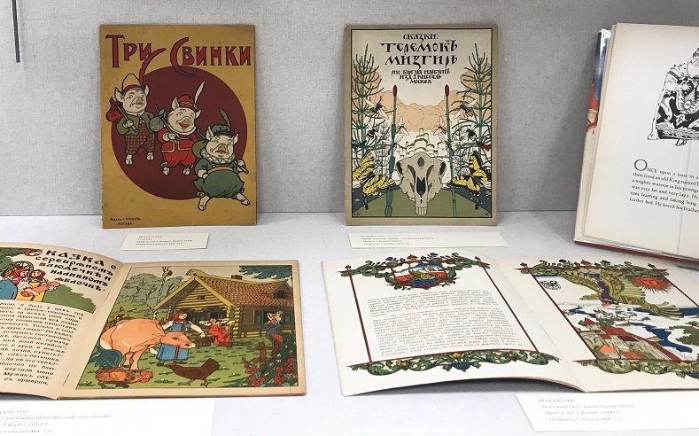 photo of illustrated books exhibit including Russian fairy tales