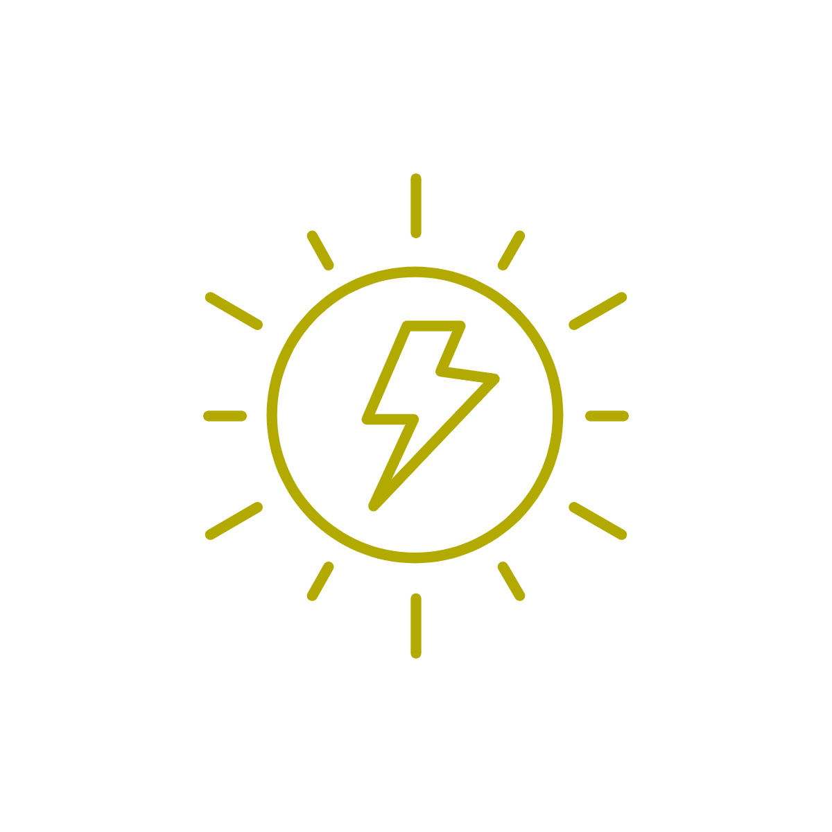 line drawing of a sun with a lightning bolt in the centre