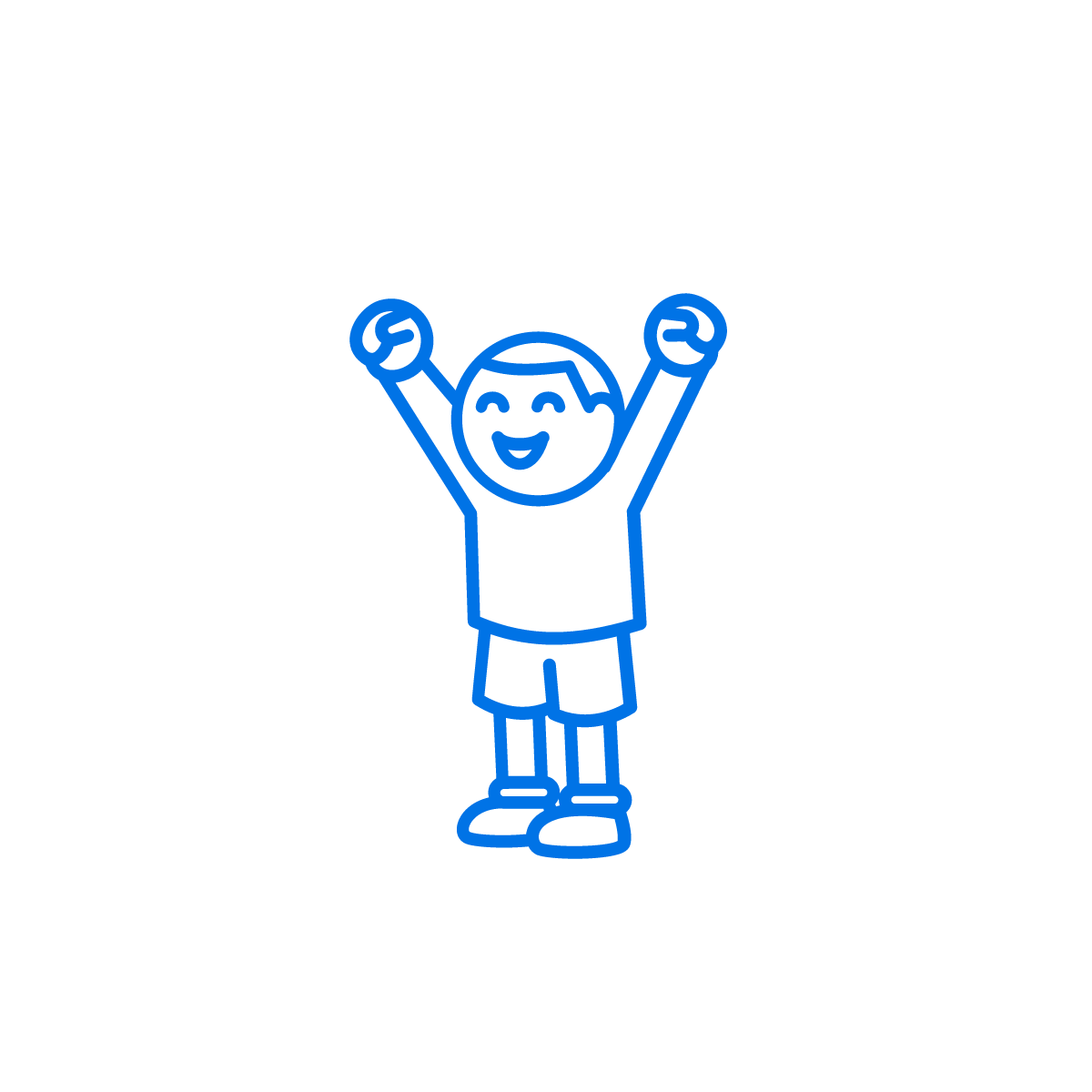 line drawing of a young man celebrating with his arms in the air