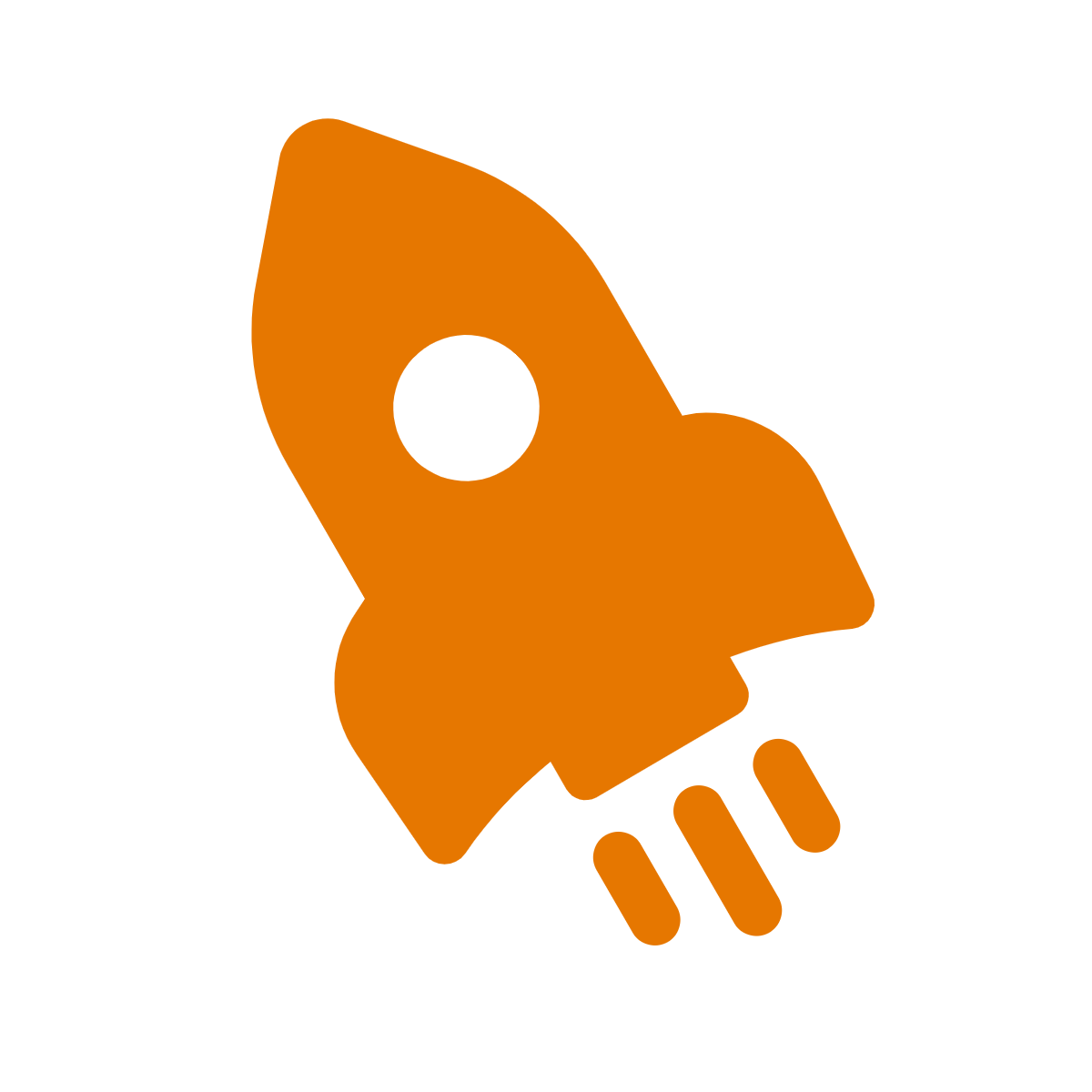 simple drawing of an orange rocket