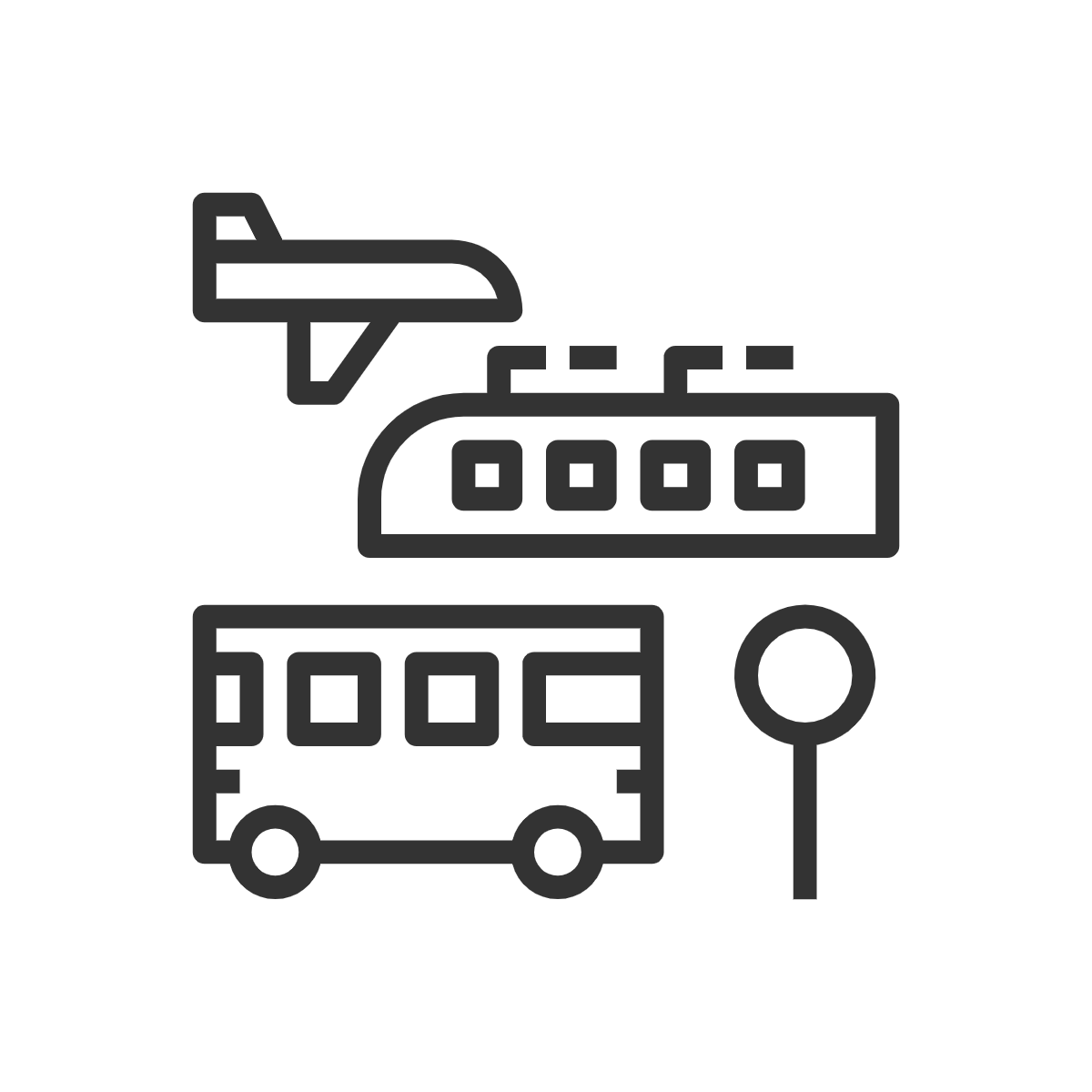 line drawing of a plane, a bus, a train, and a traffic sign