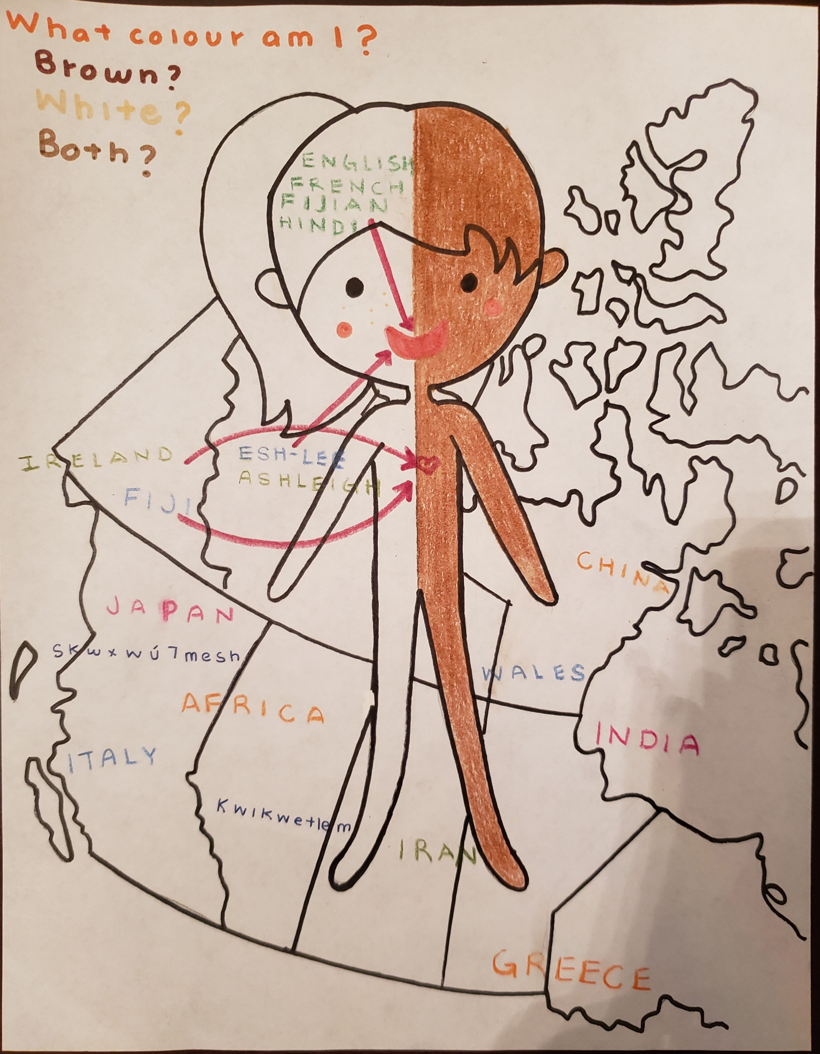 """Ashley's Plurilingual Identity drawing. Image shows a stick figure standing in front of a map of Canada (with place names from around the world). Text reads: What colour am I? Brown? White? Both?  Over the head, the stick figure has the words """"English, French, Fijian, Hindi."""" The names Esh-lee and Ashleigh are also written on the image."""