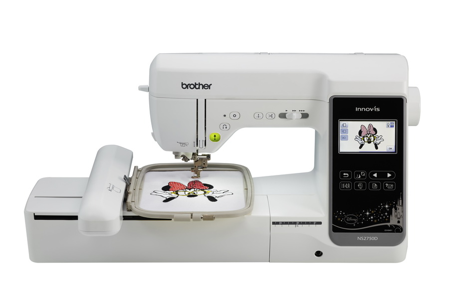 Sewing machine creating embroidery of an image of Minnie Mouse.