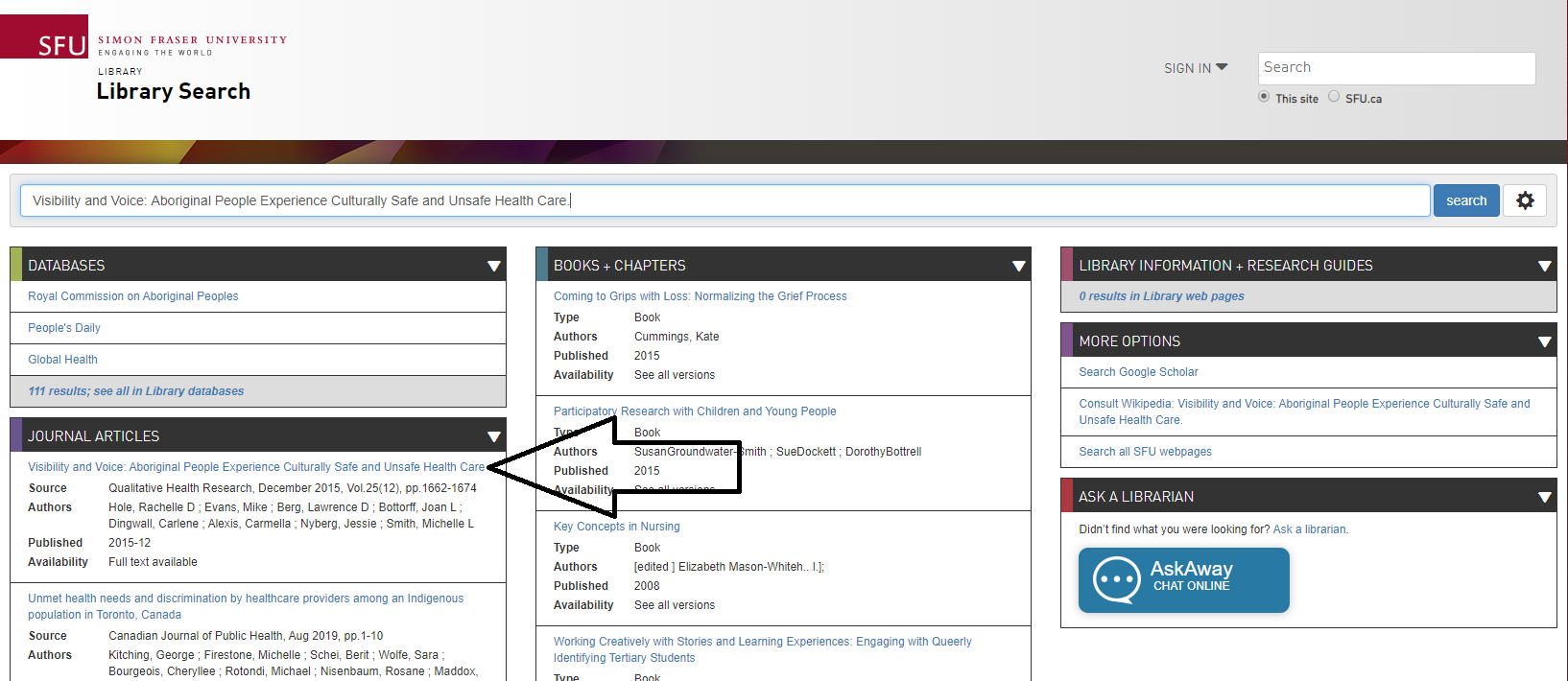 In library search page, find your article and click on it.