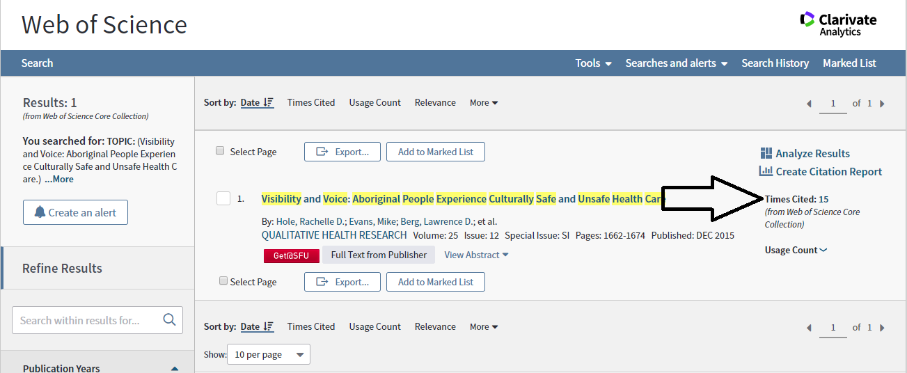 In the results page, click on the number beside times cited on the right hand side of the screen.