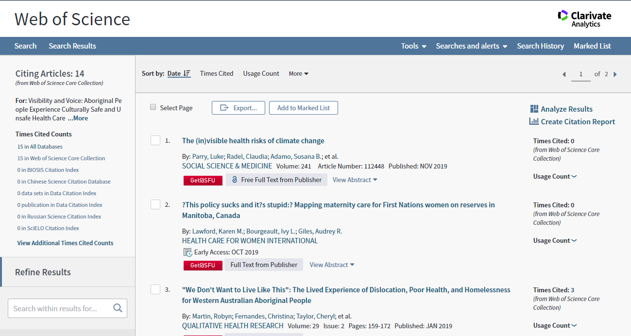 The results page shows the forward citation chain and there are 15 works that cited the article.