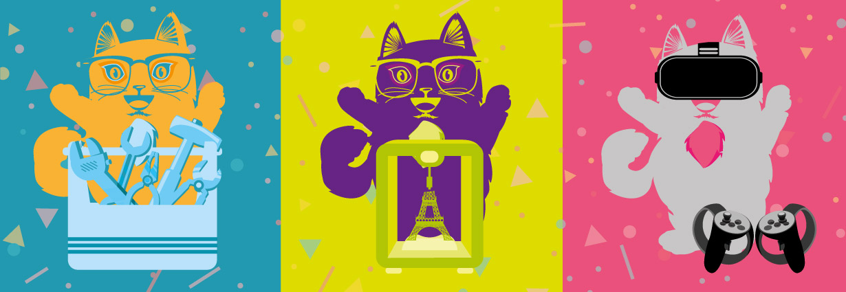 Cartoon image of three cats silhoutted with three different makerspace objects: a toolbox, a 3D printer, a VR device. Celebratory confetti in the background.