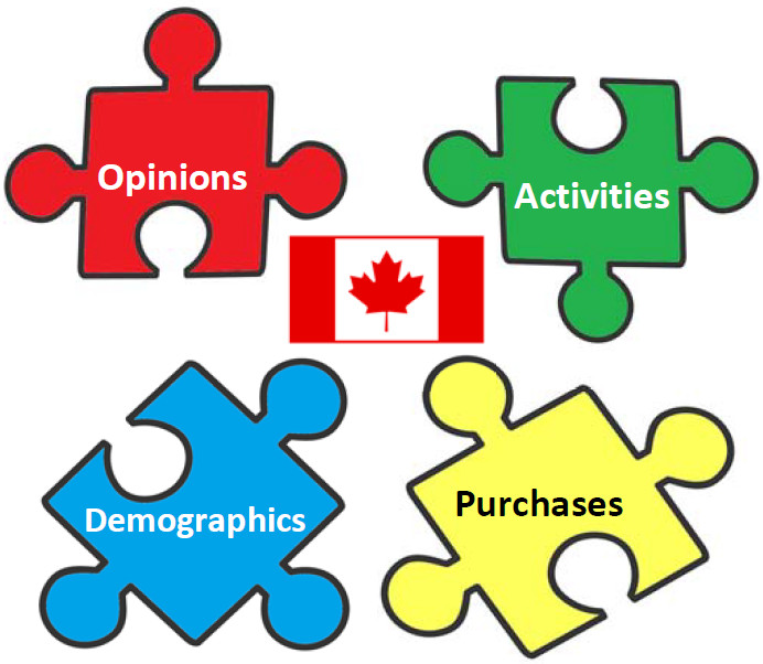 "Four jigsaw puzzle pieces with a Canadian flag in the centre. The words ""Opinions,"" ""Activities,"" ""Demographics,"" and ""Purchases"" are on the puzzle pieces."