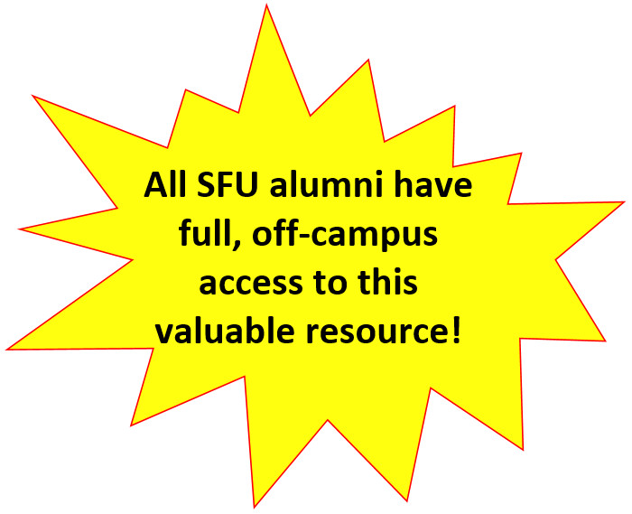 "Yellow star image with note explaining that ""all SFU alumni have full, off-campus access to this valuable resource."""