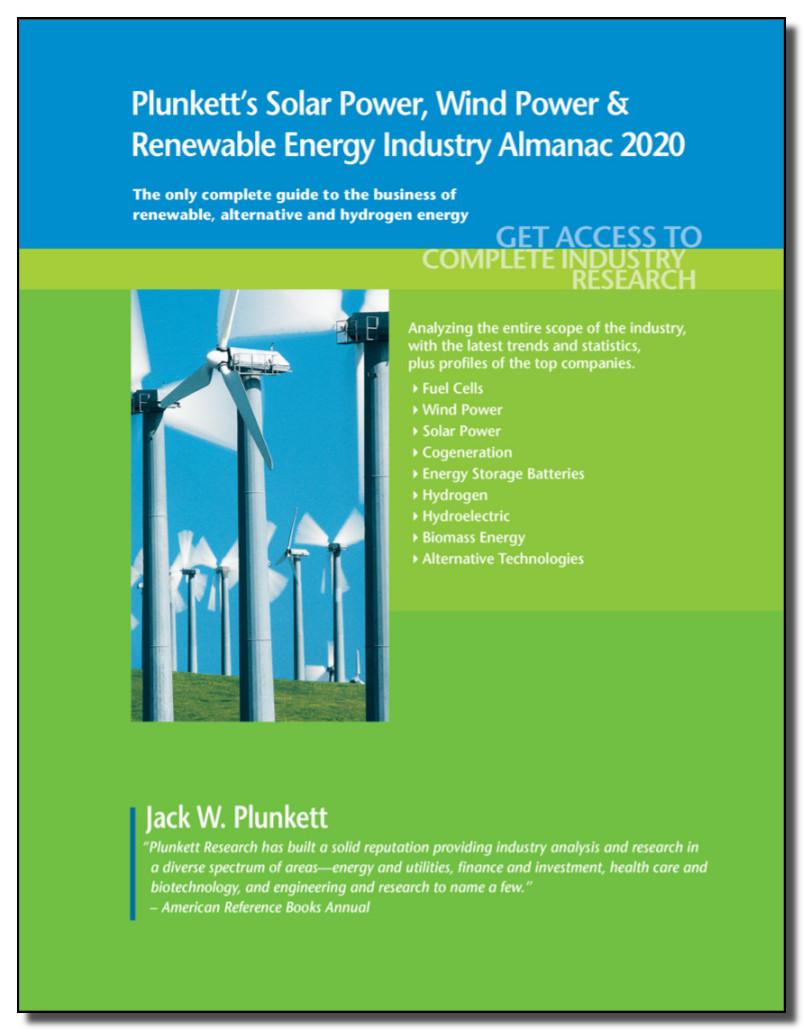 Image of the cover of ebook: Plunkett's Solar Power, Wind Power & Renewable Energy Industry Almanac 2020