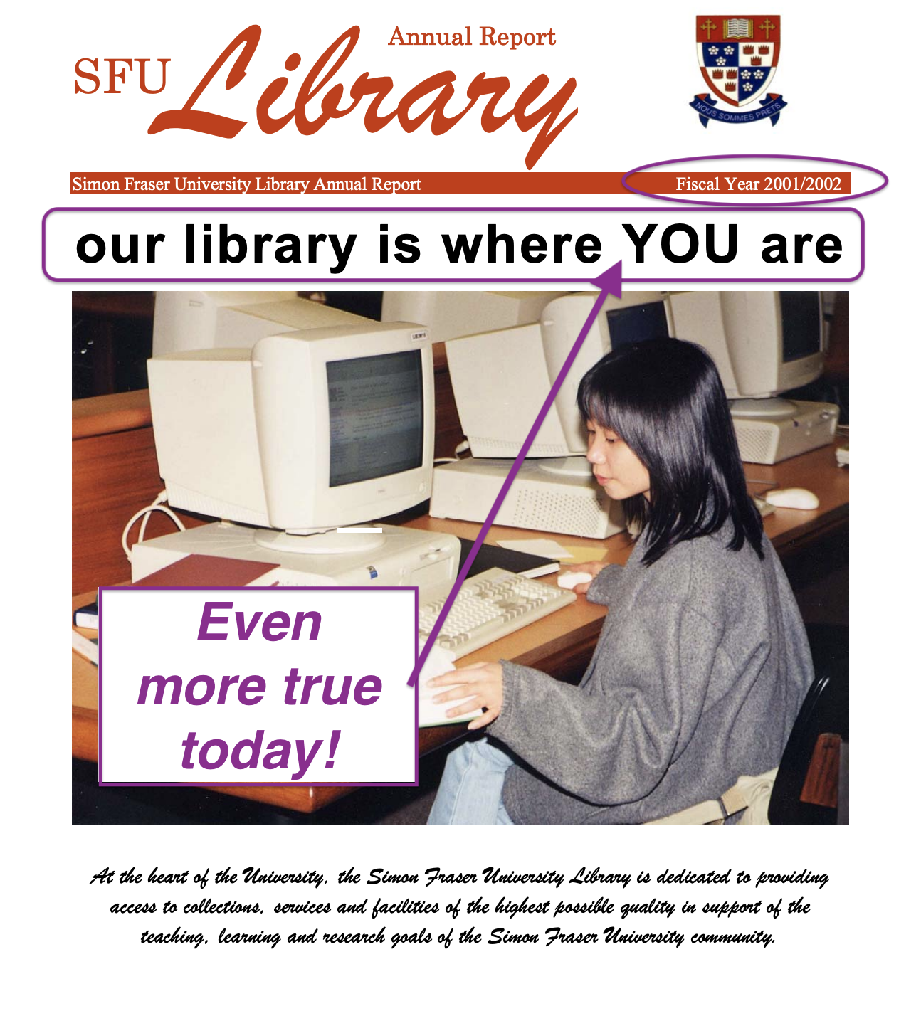 "Screen capture of the cover of the SFU Library's 2001-2002 annual report with the motto ""Our library is where YOU are!"" and an added annotation ""Even More True Today!"""