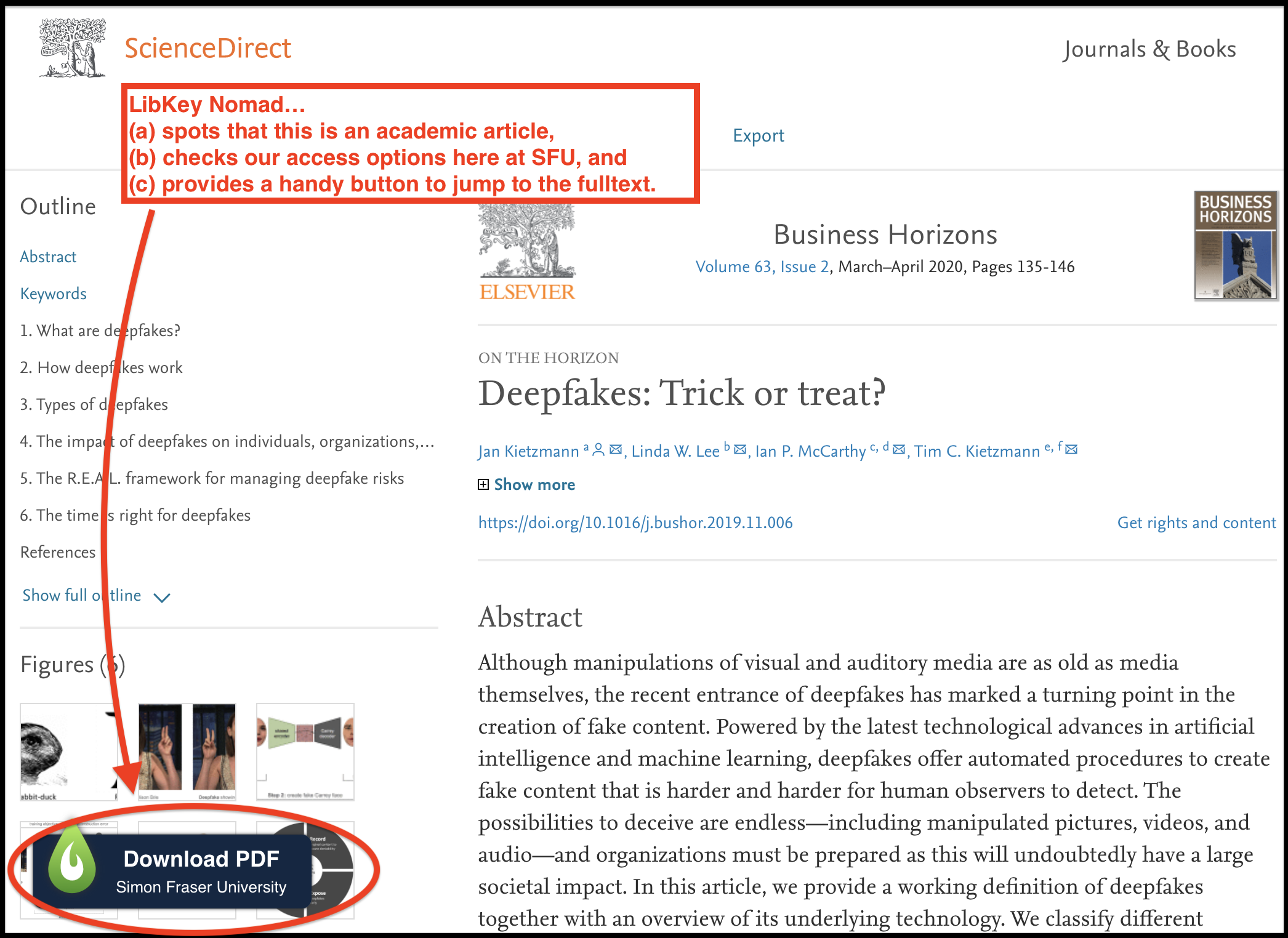 "Screen capture of a portion of the site of an academic article (""Deepfakes: Trick or treat?"") with the LibKey button circled."