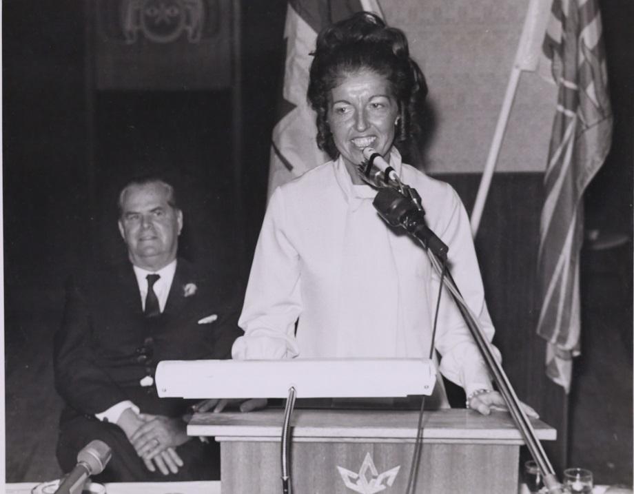 Grace giving a speech