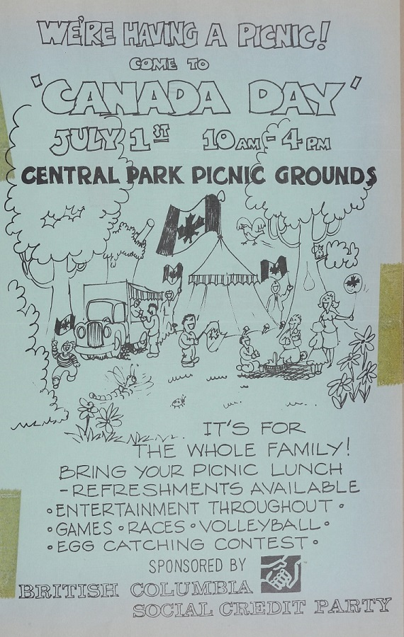 An invitation to the Canada Day celebration picnic at Central Park