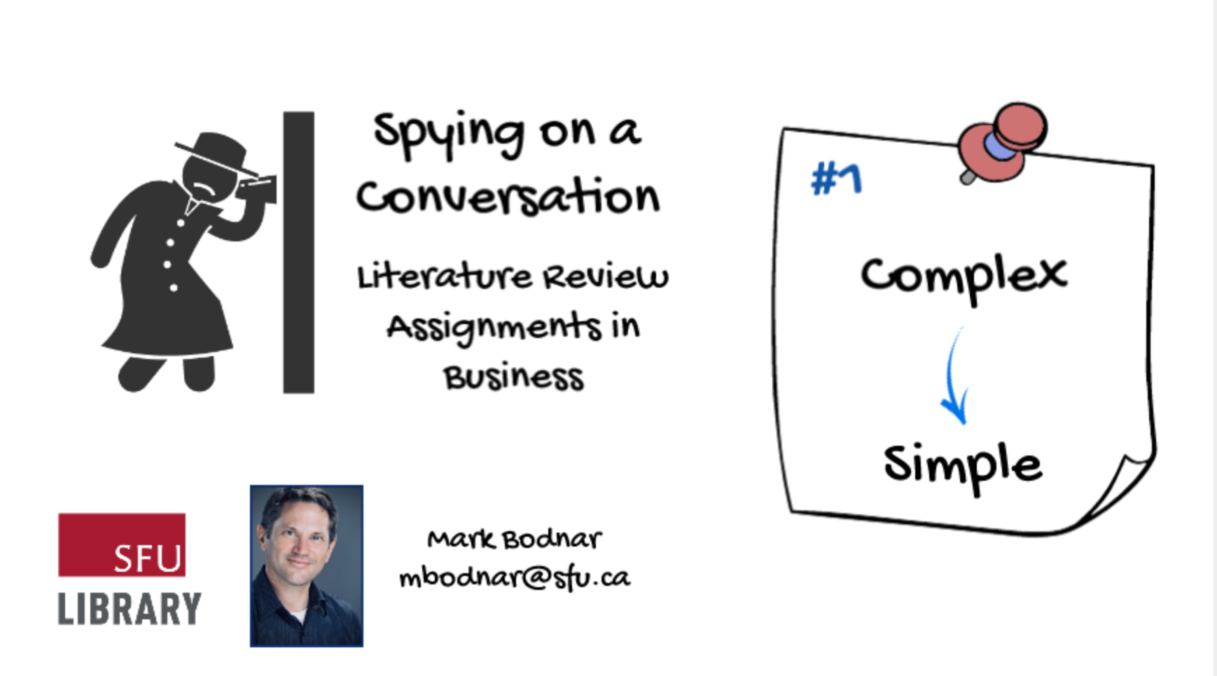 Title screen from the video: Spying on a conversation: Literature review assignments in business