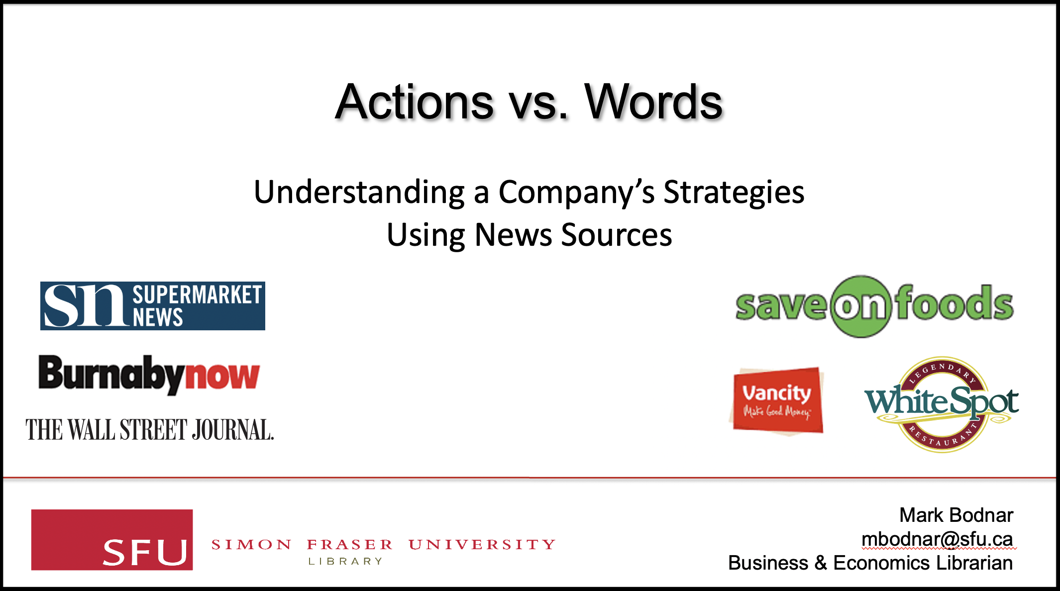 "Screen capture of the title screen of video: ""Actions vs Words: Understanding a Company's Strategies Using News Sources"