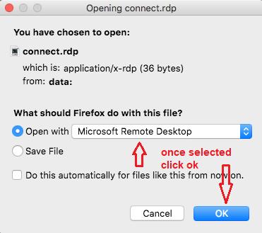 Open the file with Microsoft Remote Desktop