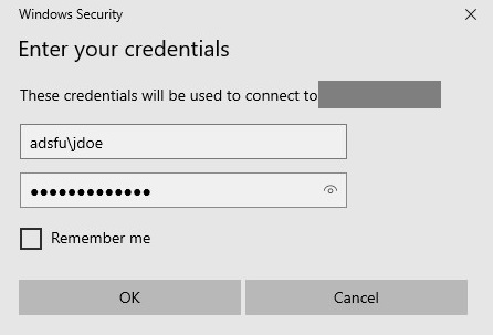 Box showing fields for entering username and password