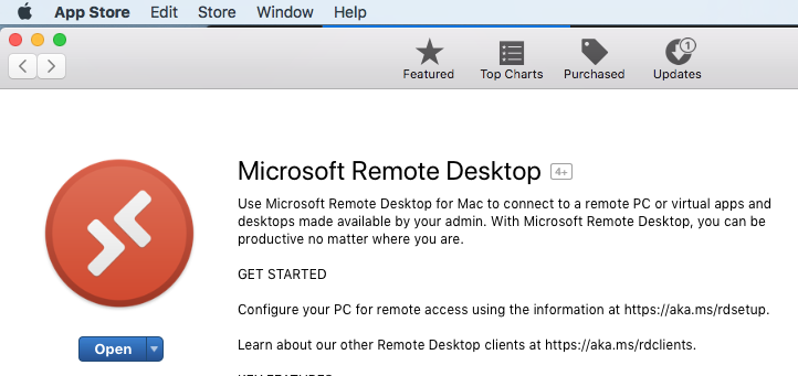 Option to download Microsoft Remote Desktop from the App Store