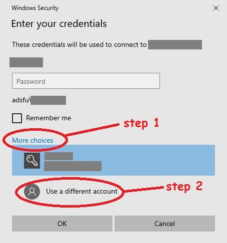 "To switch accounts, click ""more choices"", then ""use a different account"""
