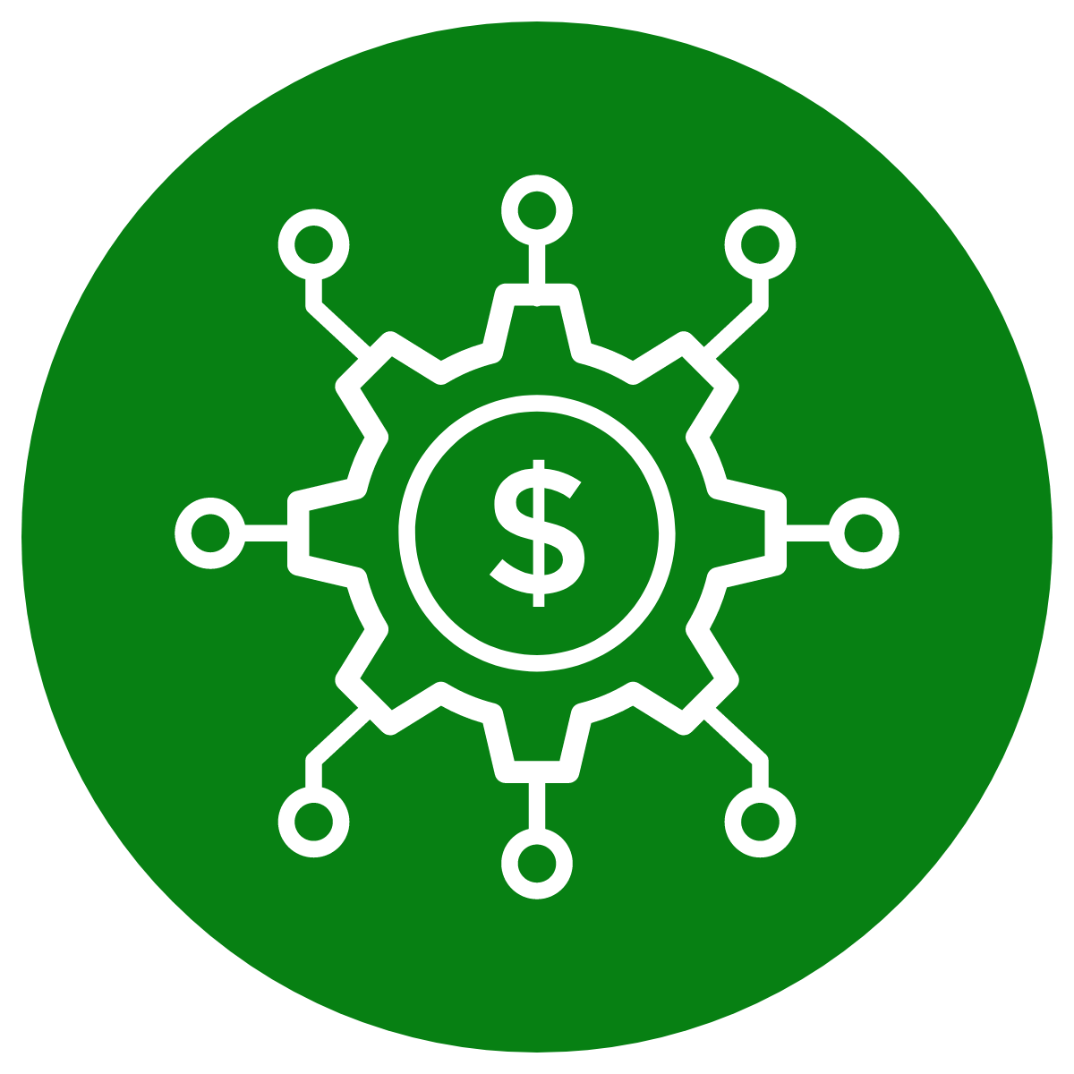 simple line drawing of a dollar symbol surrounded by circuit nodes
