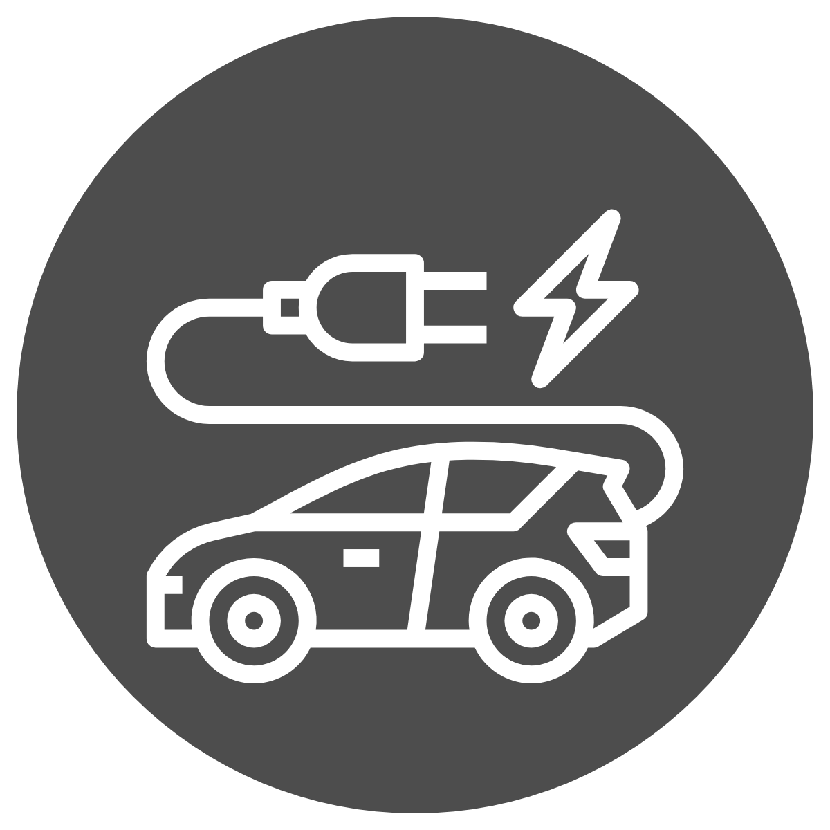 simple line drawing of a car with an electrical cord attached to its back