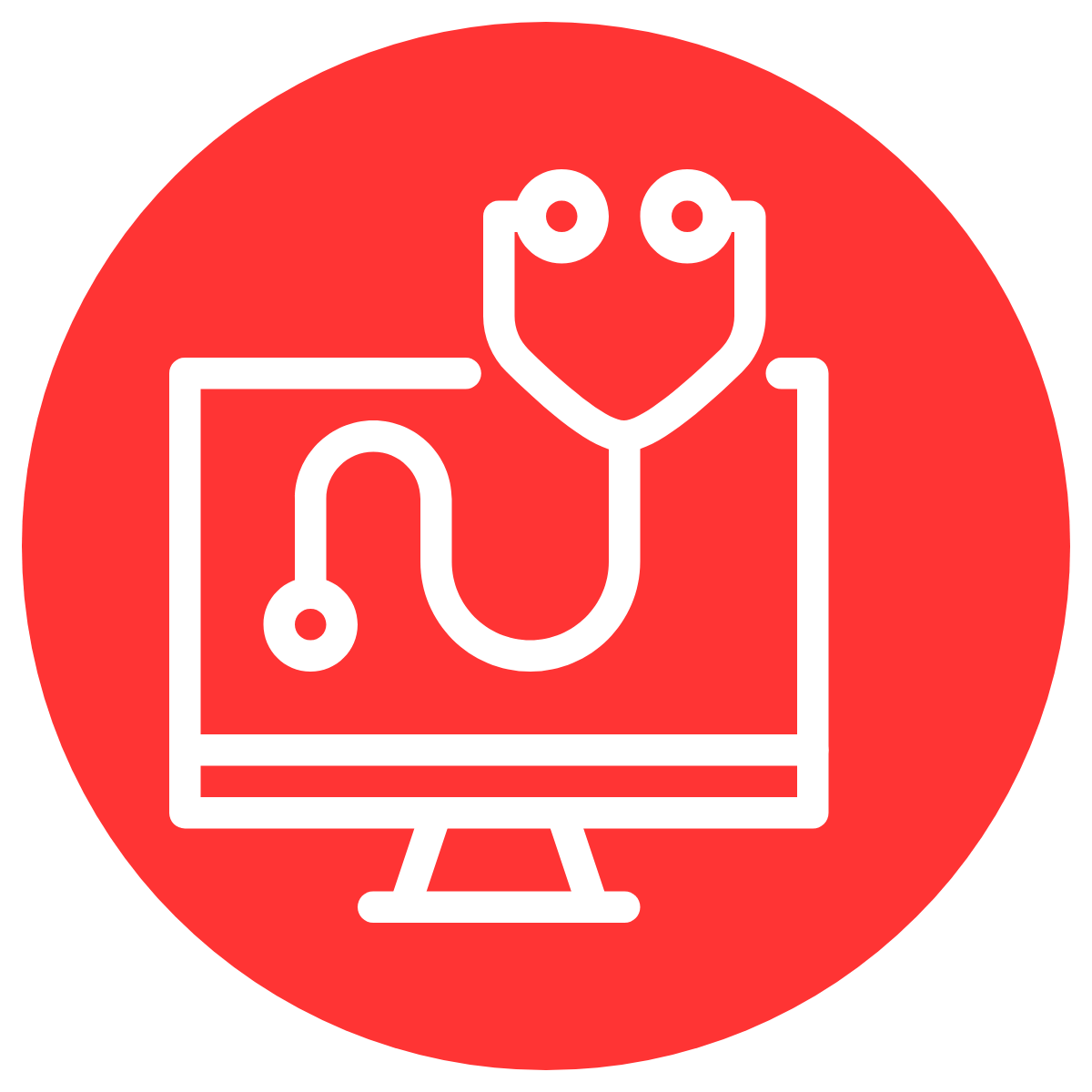 simple line drawing of a stethoscope in front of a computer monitor