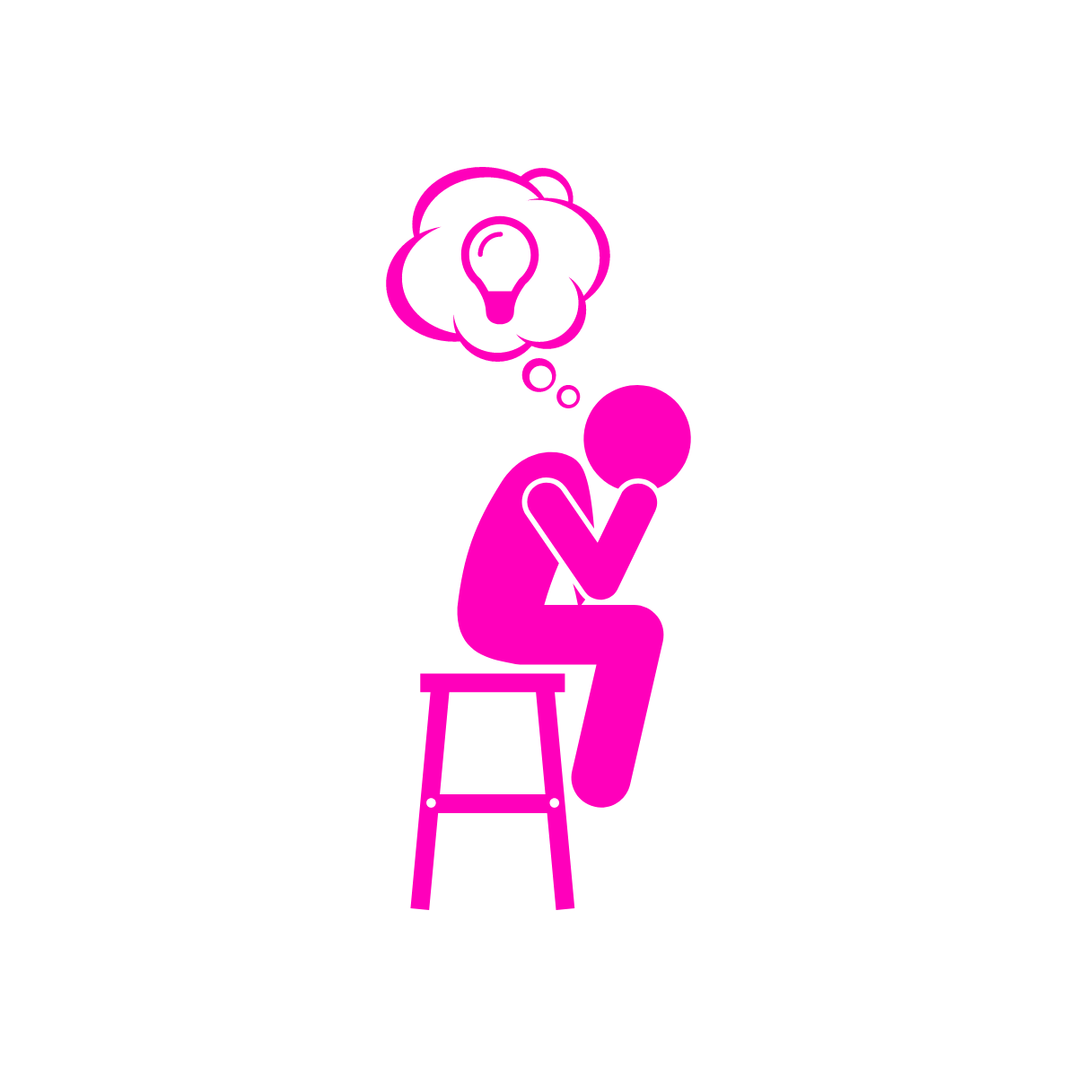 line drawing of a person in a thinking pose with a light bulb in a thought bubble