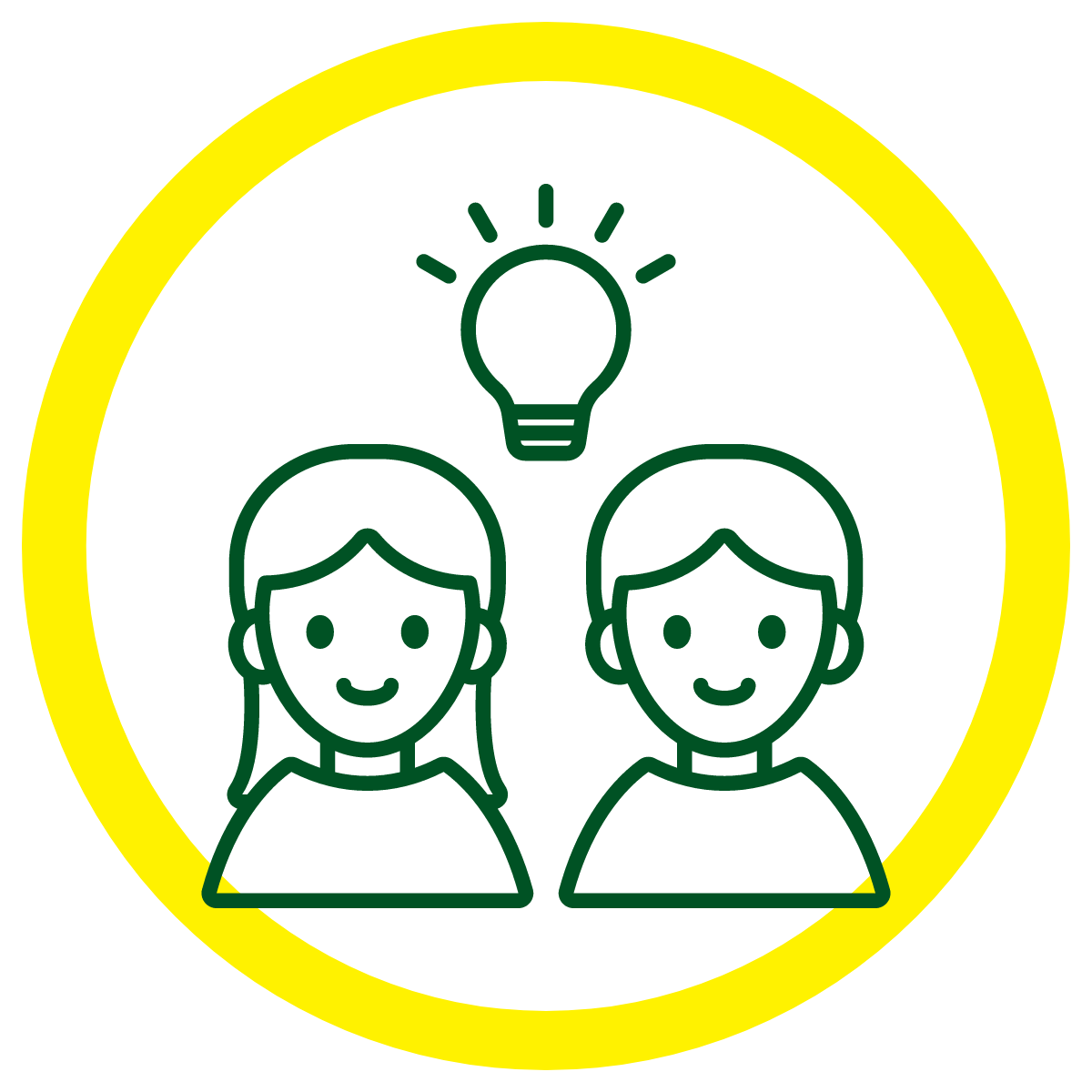 Simple line drawing of two people with a light bulb above them to indicate creative ideas