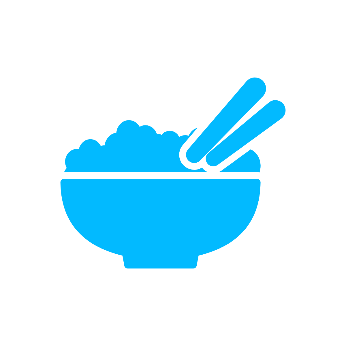Line drawing of a bowl with chopsticks