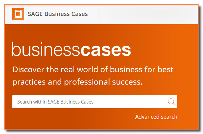 Screen capture of the search screen for SAGE Business Cases.
