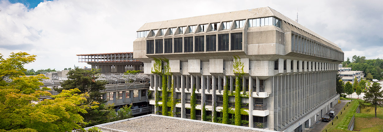 exterior image of the W.A.C. Bennett Library, SFU Burnaby